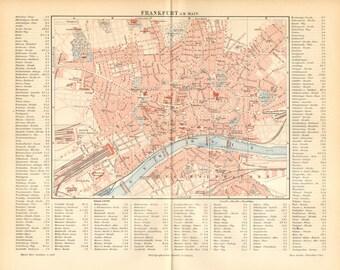 1894 Original Antique Dated City Map of Frankfurt