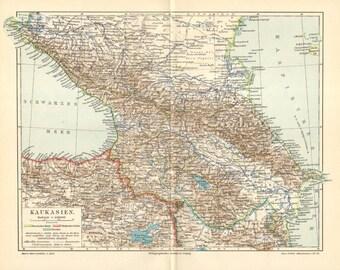 1898 Original Antique Map of the Caucasus or Caucas