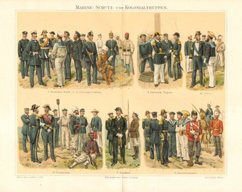 1896 Naval and Colonial Uniforms of the German Empire, Austro-Hungarian Monarchy, Italy, France, Russia, Great Britain Antique Lithograph