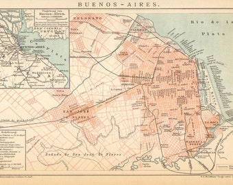 1894 Antique City Map of Buenos Aires, Capital of Argentina
