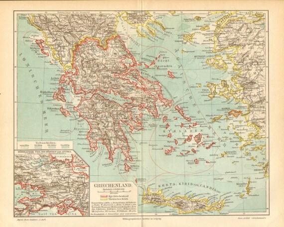 1895 Original Antique Map of the Kingdom of Greece
