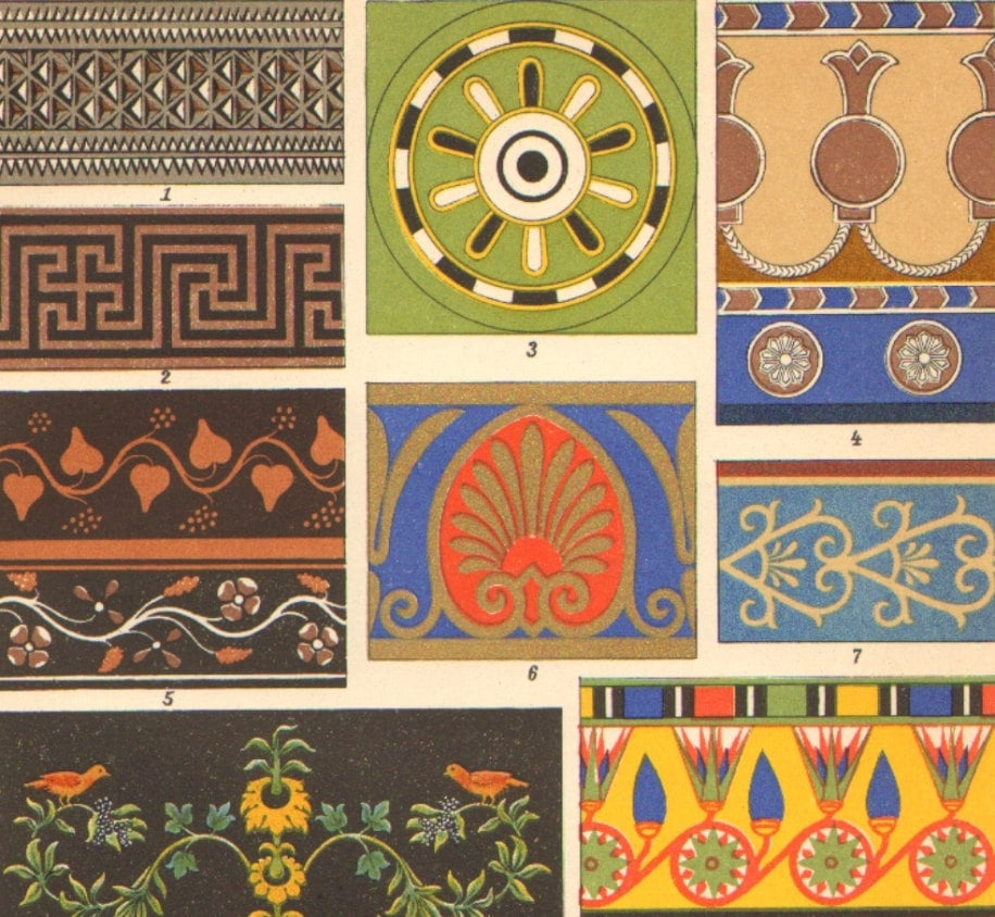 1904 ornaments decorations from ancient by cabinetoftreasures for Ancient greek decoration