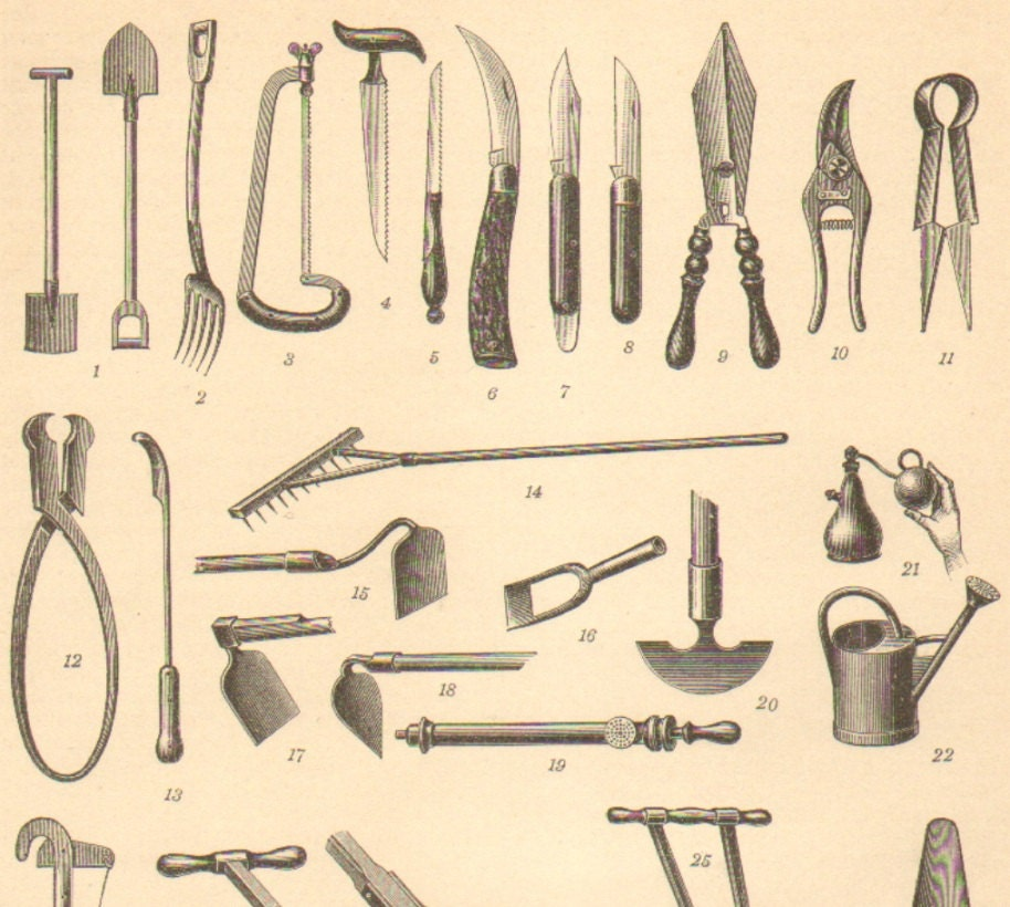 1905 gardening tools antique engraving to by for Gardening tools vintage
