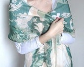 Swan Lake Pure Silk Chiffon Illustrative Long Scarf in Airy Colors