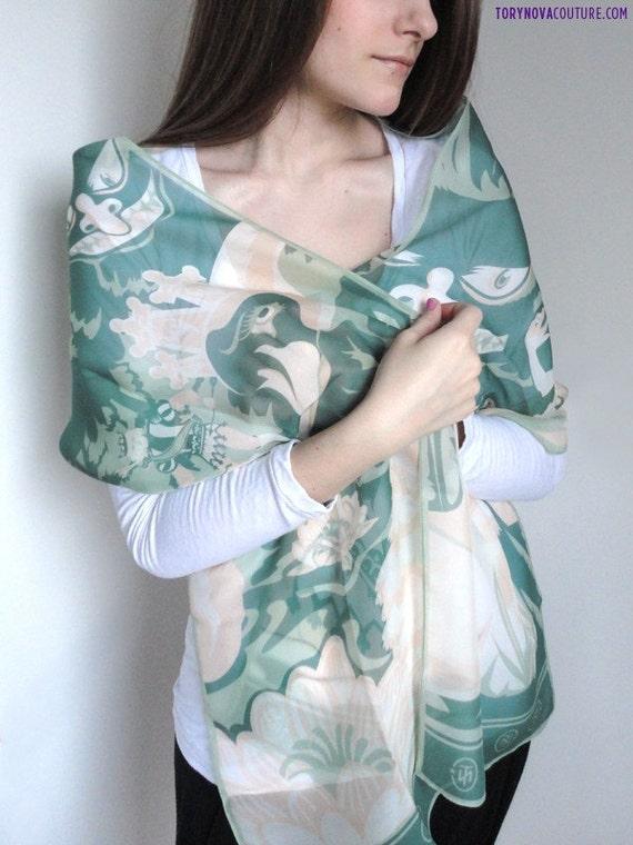 Swan Lake Pure Silk Chiffon Illustrative Long Scarf in Airy Colors