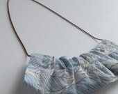 Blue leaf ruffle fabric necklace