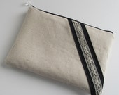 Lace trimmed clutch