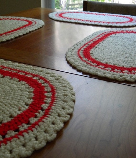 Vintage Crochet Placemats- Ivory and Red Ovals- Set of 4 CLEARANCE 50% OFF