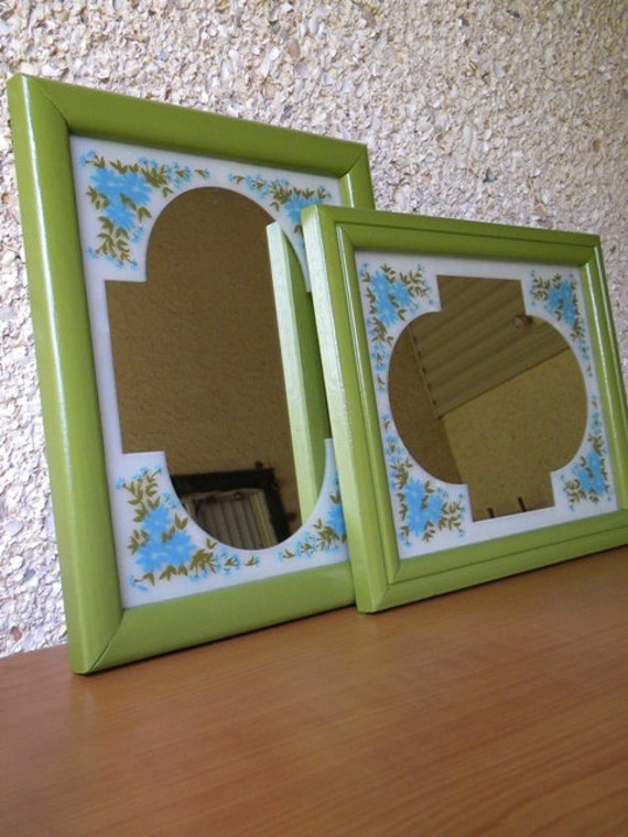 50% OFF Vintage Mirrors with Etched Blue Daisy Print and Upcycled Found Frames- Set of 2