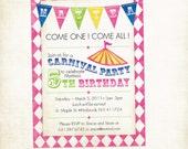Printable Circus or Carnival Birthday Invitation for Boy or Girl