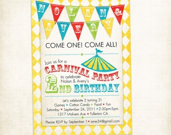 TWINS-Multiples Circus or Carnival Birthday Invitation (Printable)