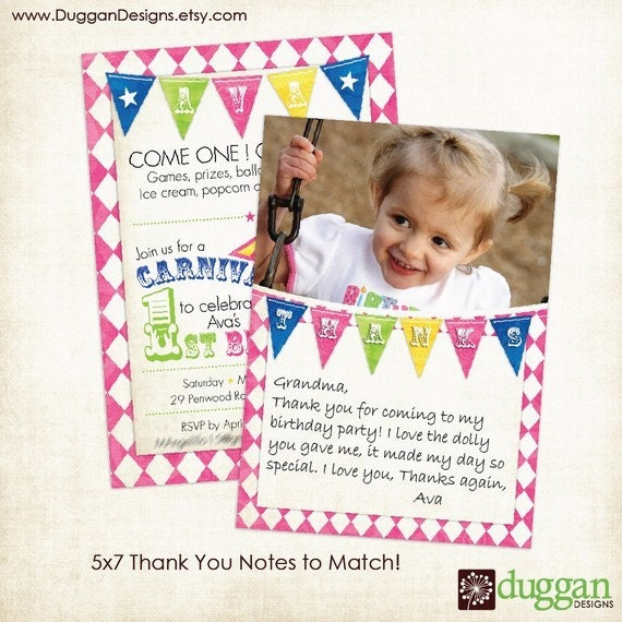 Free Children S Birthday Thank You Notes ~ Items similar to circus or carnival kids birthday invitation and photo thank you note package on