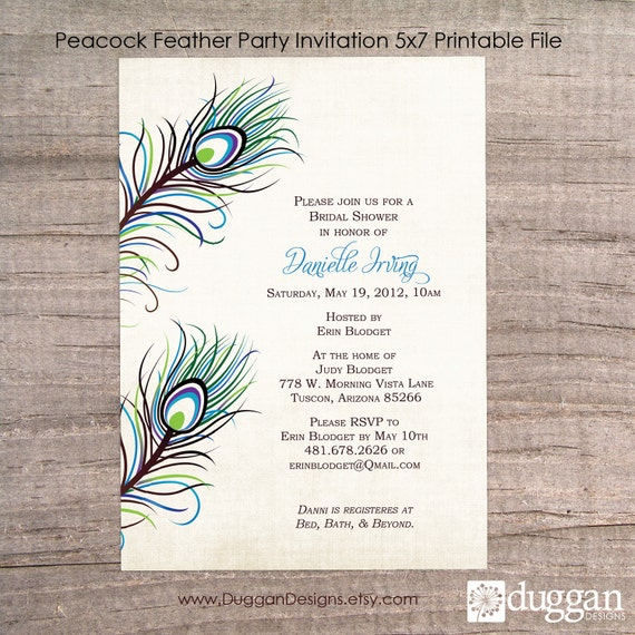 Items Similar To Printable Peacock Party Invitation