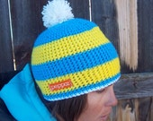 Peppar Yellow and Blue Ski Hat / Snowboard Hat with pompom for men and women