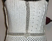 Unique Handmade Knitting Off White Top Tank Cotton and Viscose