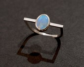 Sterling silver and opal square ring size 5 3/4