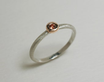 Orange sapphire 14K Rose Gold and Sterling Silver Ring