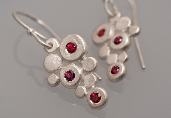 Ruby-red sapphire and sterling silver earrings