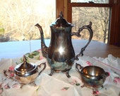 Silver plate Tea Set Antique Vintage WM Rogers 800 Silver plated 3 pc Tea Set