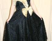 Vtg 80's Sheer Lace Origami Full Skirt Midi Holiday Party Dress S