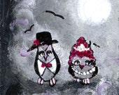 Owl's party night - Acrylic miniature on wood