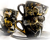 Hand painted Espresso coffee cup set Golden Era - Edwardian Ladies