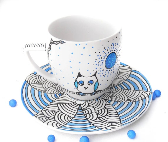 Owl hand painted teacup - Waiting for my woman
