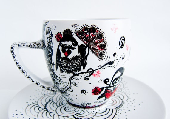 Tango Owls hand painted teacup and saucer Owls in LOVE painted teacup