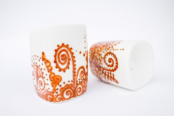 Salt and Pepper Shakers - Hand painted Brown Delight