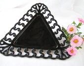 Vintage Black glass Westmoreland Triangle dish RARE