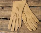 Vtg Deer Skin Gloves, handmade, natural buckskin color