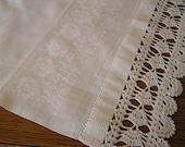 Vtg TABLE Runner Damask and Crochet WHITE Wedding