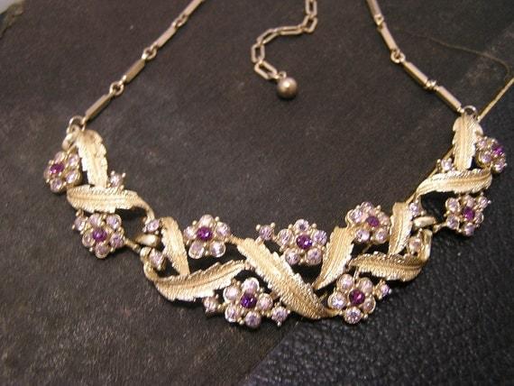 Coro Pegasus Lavender Rhinestone Gold Necklace