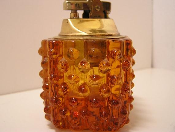 VTG Amber Hobnail Glass Lighter 1950s Mad Men