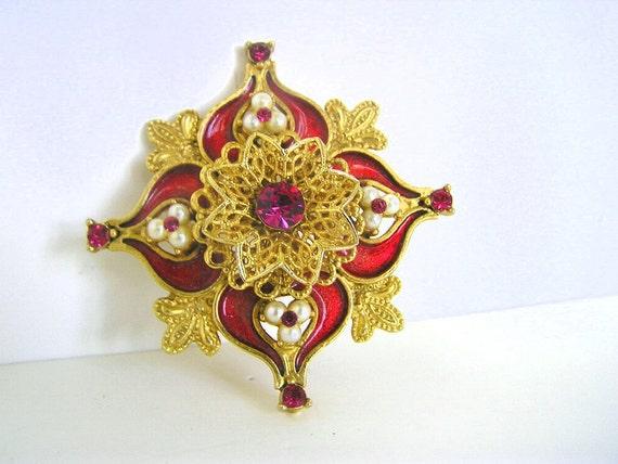 SALE VTG PIN Fuschia & Pearls Gold