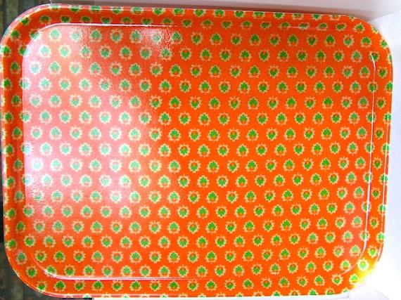 2 VTG Fiberglass TRAYS MOD Orange Partyware 1960s
