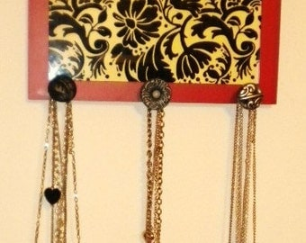 Damask Picture Frame Jewelry Holder with Vintage Drawer Pulls
