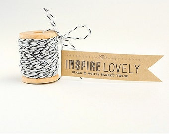 10 yards Black and White Bakers Twine hand wound on a cute mini wooden spool