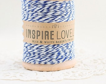 50 yards Blue and White Bakers Twine hand wound on a wooden spool