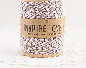 SALE - 50 yards Brown and White Bakers Twine hand wound on a wooden spool