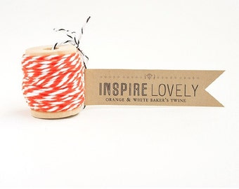Discontinued SALE - 100 yards Orange and White Bakers Twine