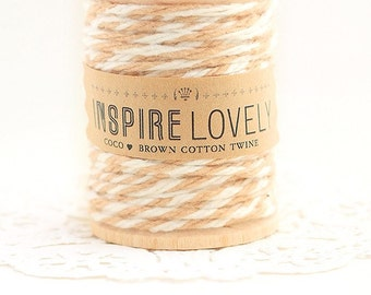 100 yards Coco Brown and White cotton twine