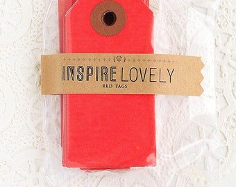 20 Mini Gift Tags -  Red blank tags