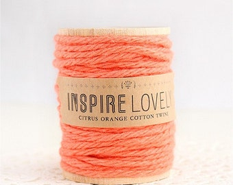 80 yards Citrus Orange Cotton Twine