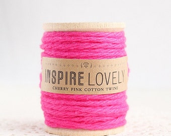 10 yards Cherry Pink Cotton Twine hand wound on a wooden spool