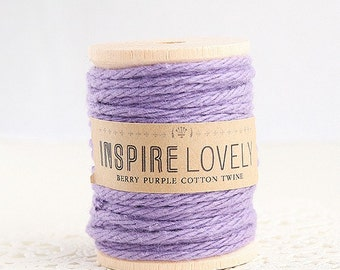 150 yards Berry Purple Cotton Twine hand wound on a wooden spool