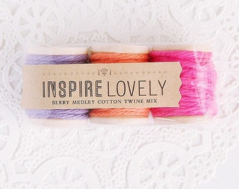 9 yards Berry Medley Cotton Twine Mix hand wound on mini wooden spools