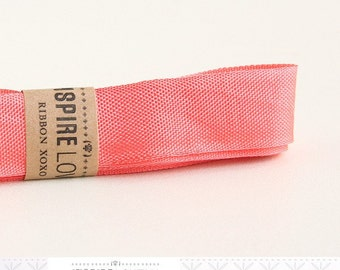 Vintage inspired Seam Binding ribbon xoxo- Melon