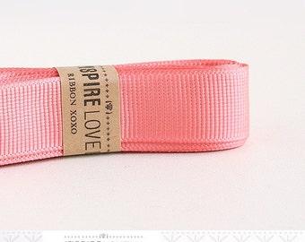 25 yards Coral Pink Grosgrain Ribbon xoxo
