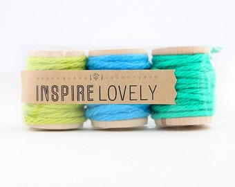 9 yards Spring Medley Cotton Twine Mix hand wound on mini wooden spools